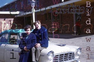 two women in blue coats, Brenda L. Croft